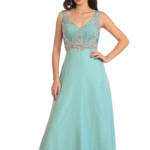 V-Neck Chiffon Long Prom Jeweled Dress GL1073